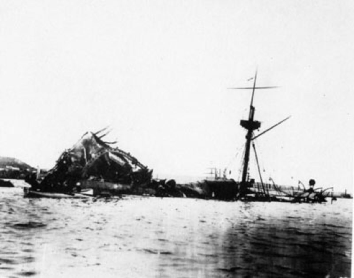 Sunken USS Maine in Havana Harbor