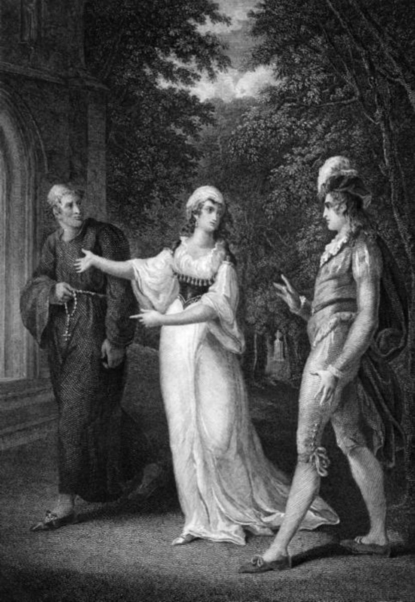 "Scene from the play ""Twelfth Night"" by William Shakespeare: Olivia, Sebastian and a priest. Painting: W. Hamilton; Engraving: W. Angus"