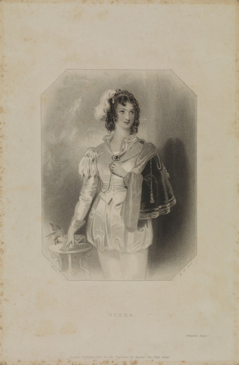 Viola in Shakespeare's Twelfth night. Stipple engraving by W.H. Mote, 1836, after Meadows after W. Shakespeare.
