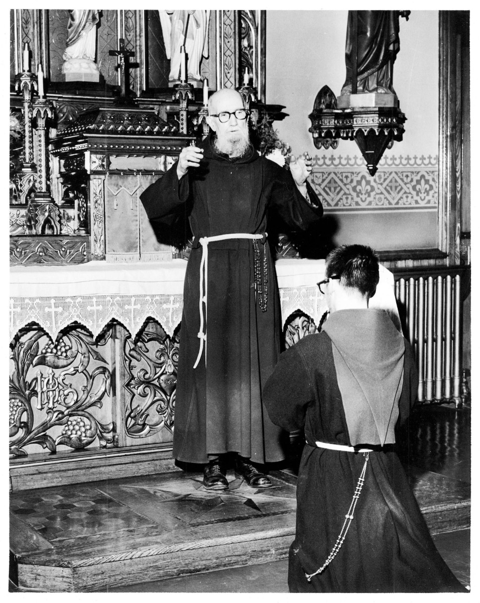 Fr. Solanus giving a blessing, 1956