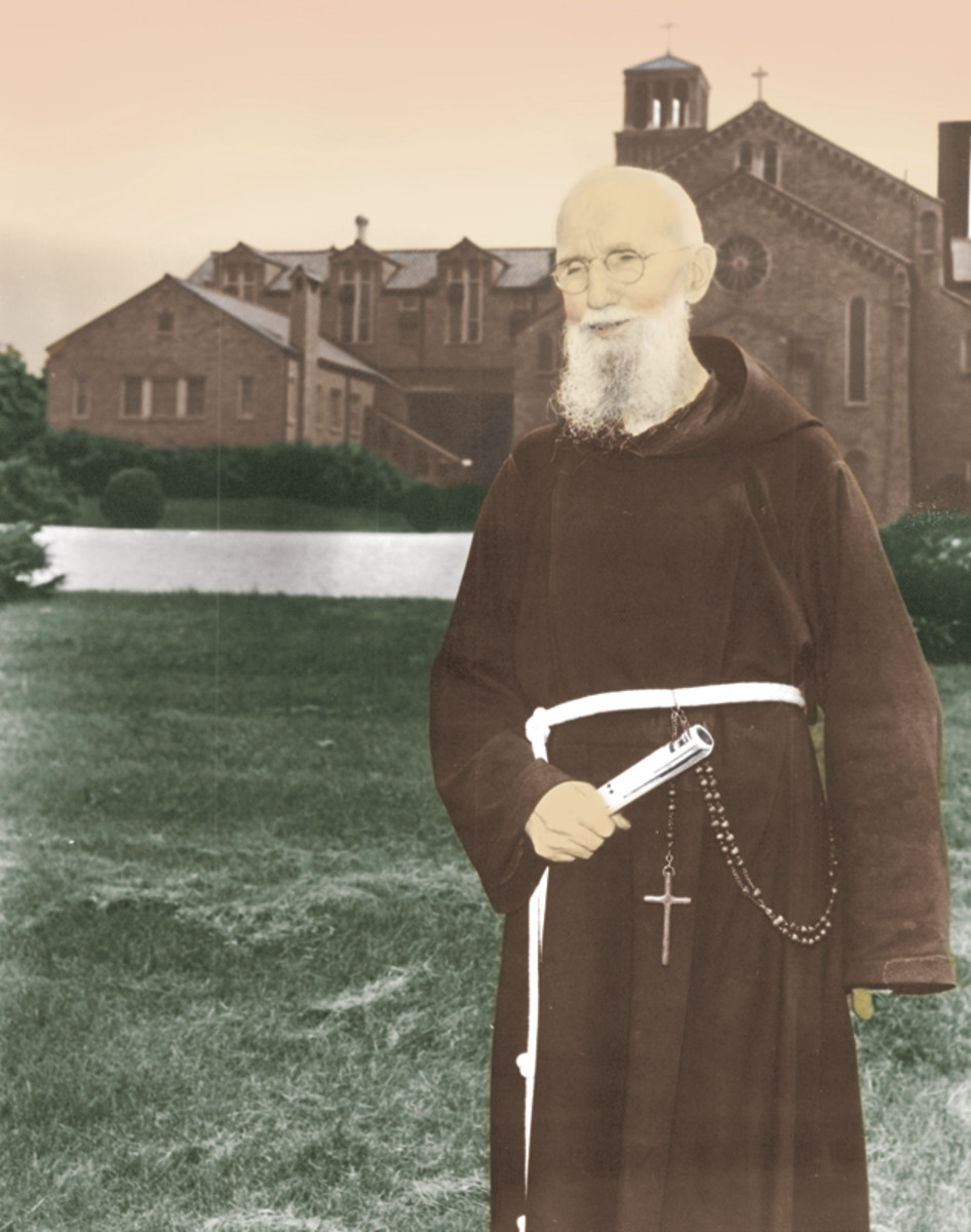 Blessed Solanus Casey in front of St. Felix' Friary, Huntington, Indiana.