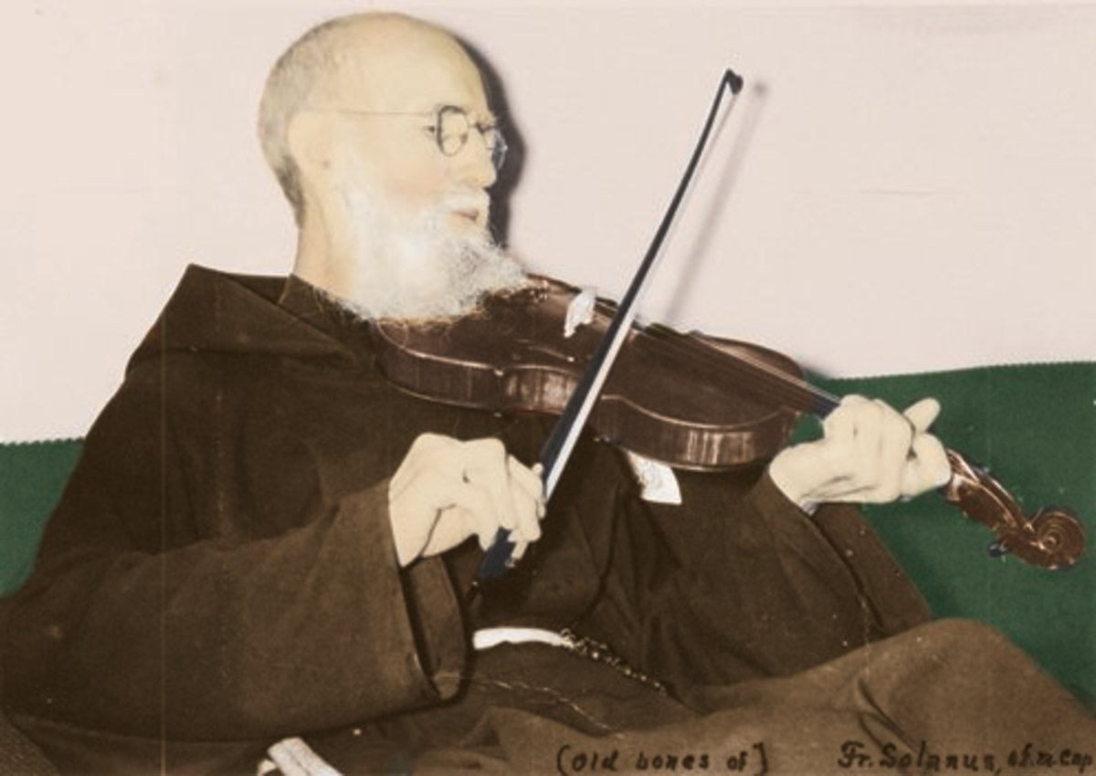 Blessed Solanus Casey with his beloved violin