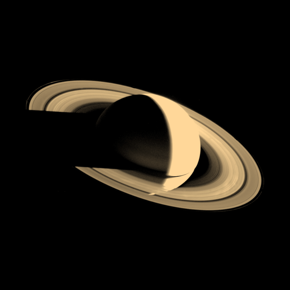 Voyager 1 Spacecraft image of Saturn on Nov. 16, 1980, taken at a distance of 3.3 million miles from the planet.
