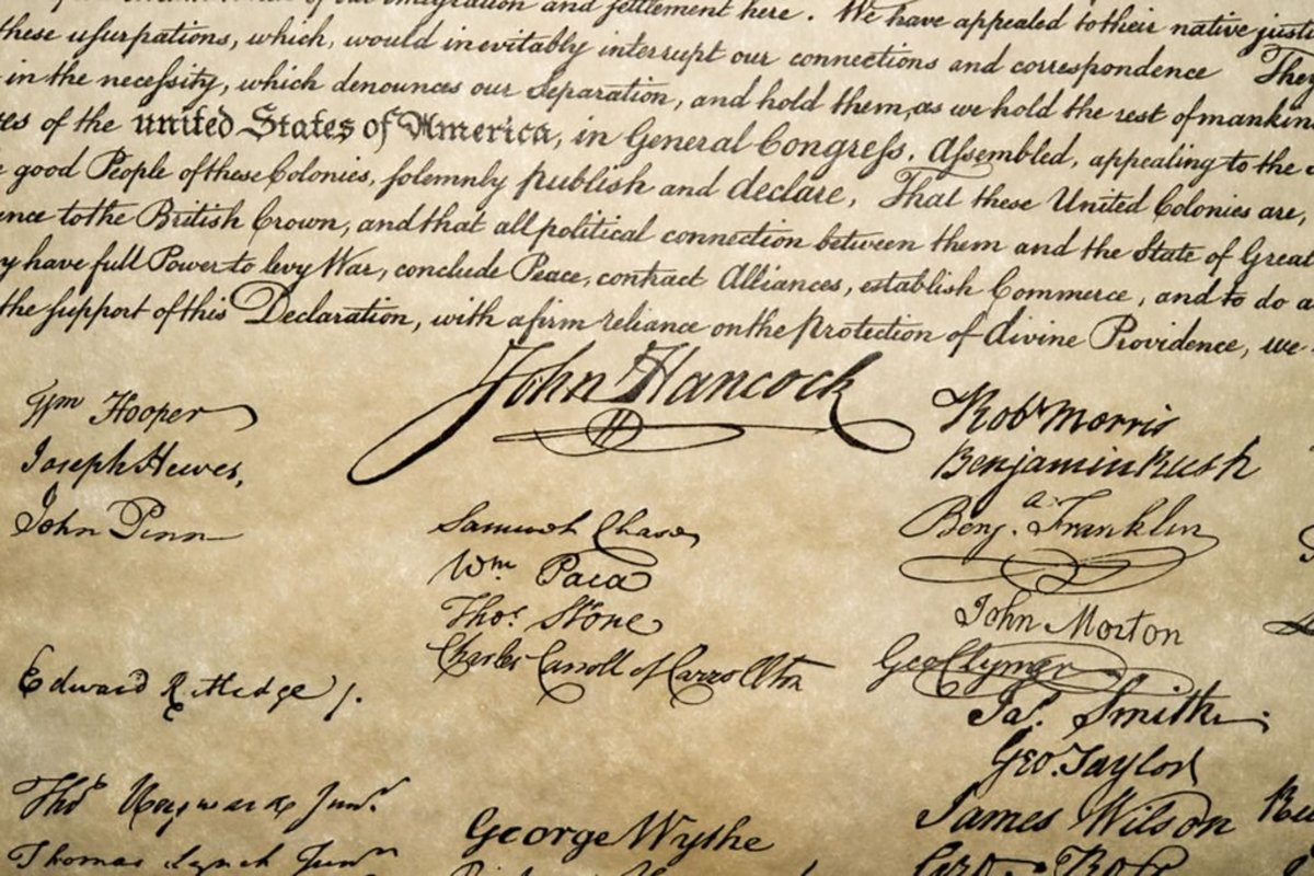 On the Declaration of Independence, John Hancock's signature stands out.