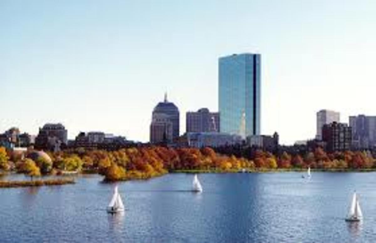 Today, the Hancock Building in Boston is the tallest building in New England. Here, it is viewed from the Charles River in Cambridge.