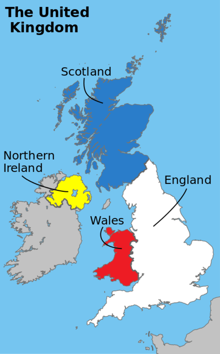 The coloured areas represent the United Kingdom. The grey area to the south of Northern Ireland is the Republic of Ireland.