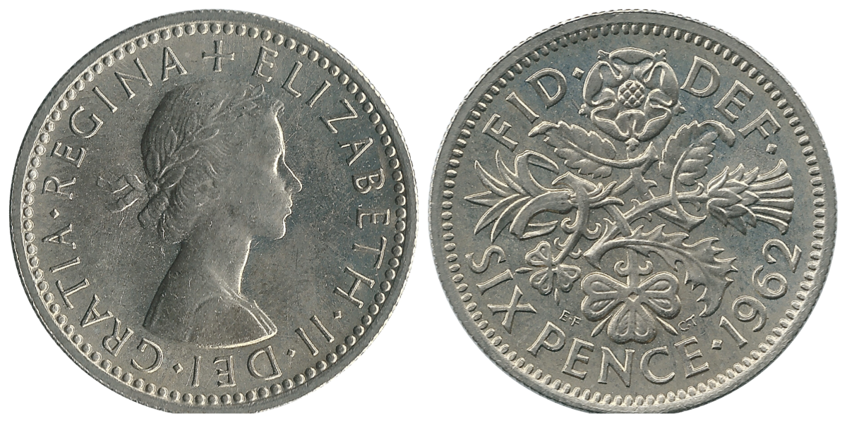 Sixpence obverse and reverse