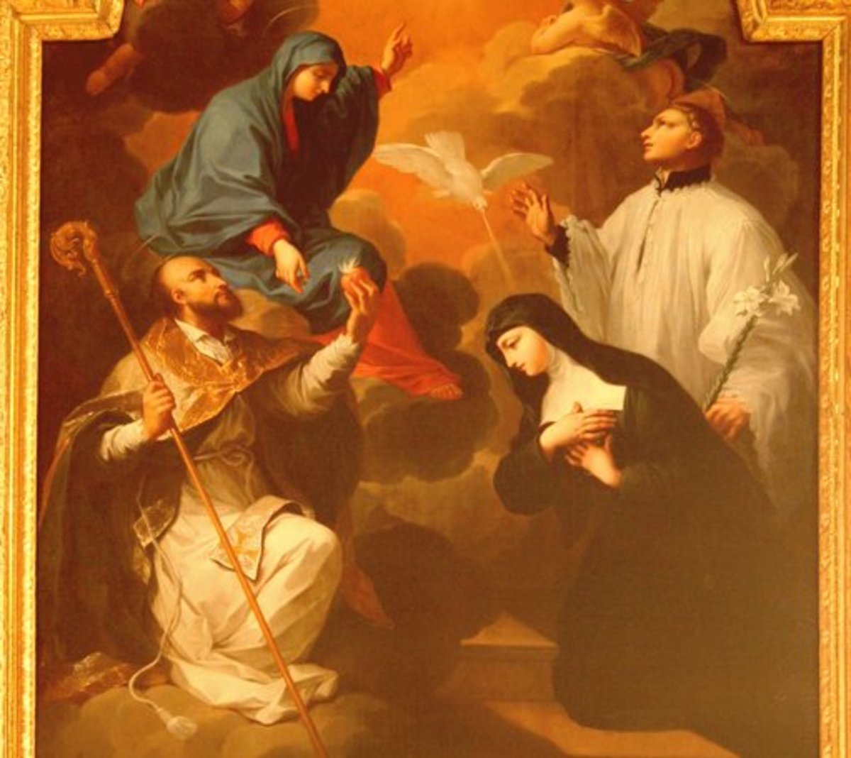 This painting depicts St.Francis de Sales on the left and St. Jane Frances on the right. Together they founded the Order of the Visitation.