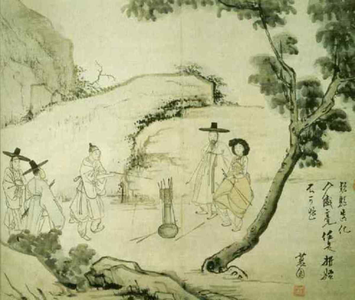 """Playing a tuho game under the forest"" from Hyewon pungsokdo by 19th-century Korean painter, Hyewon."