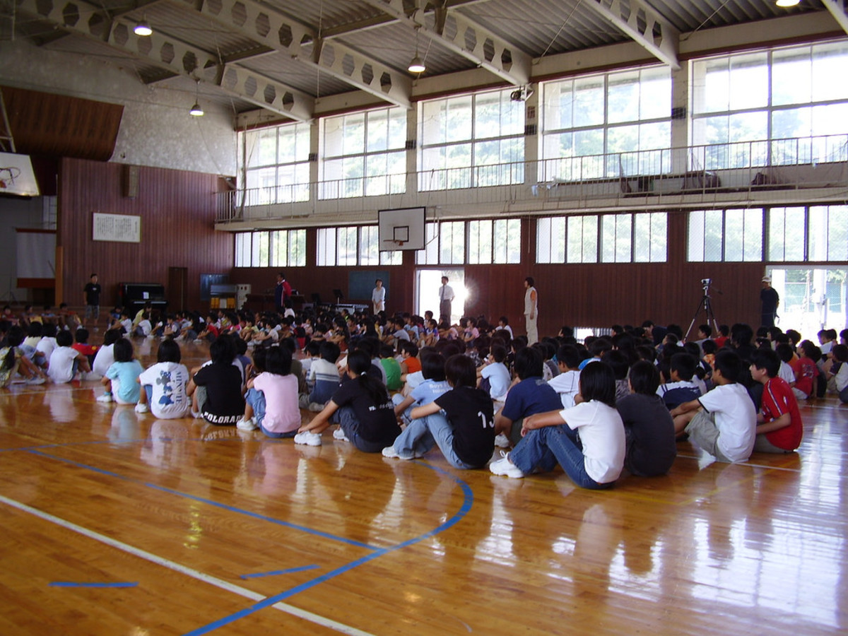 Japanese students in the gym. Most of the times you get to join assemblies like this when you are an ALT.