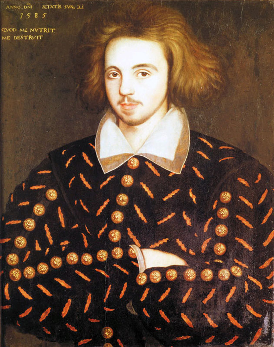 There is actually no evidence that the anonymous sitter is Marlowe, but the clues point in that direction. Marlowe was 21 years old in 1585, when the painting was made. He was also the only 21-year old student