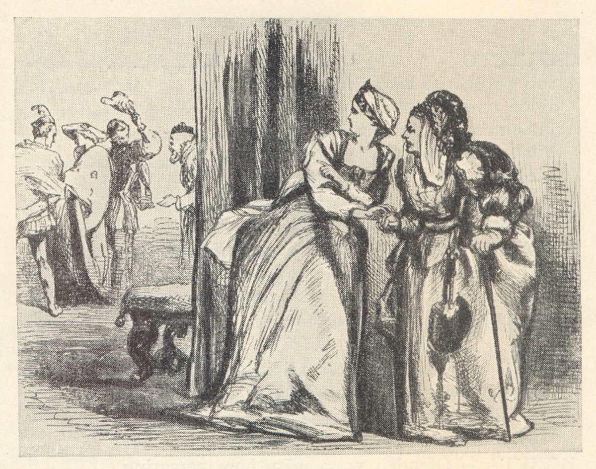 Juliet and the nurse look on at members of the Montague household.