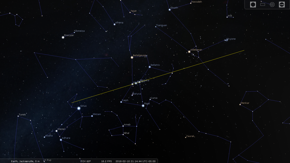 Figure 3: Orion's Belt points towards Sirius, Aldebaran and Pleiades