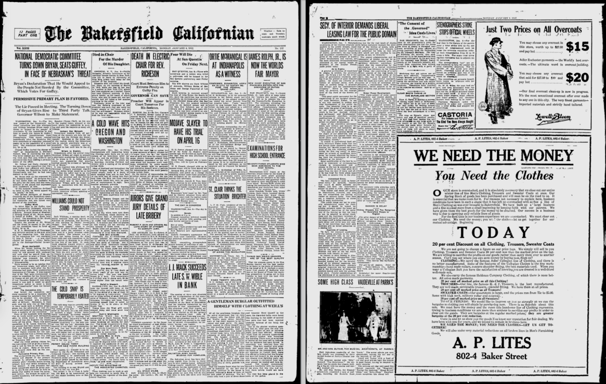 The front page of The Bakersfield Californian on January 8th, 1912.