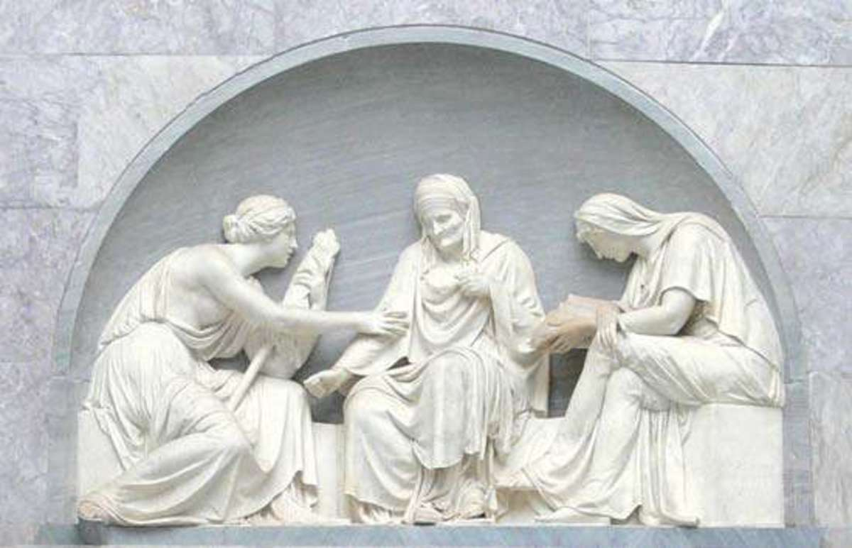 In this sculpture by Gottfried Schadow (1790) the Three Fates spin the fate of human destiny. Augustine opposed the pagan idea of fate as that which determined destiny and said rather that man's destiny is governed by the sovereignty of God.