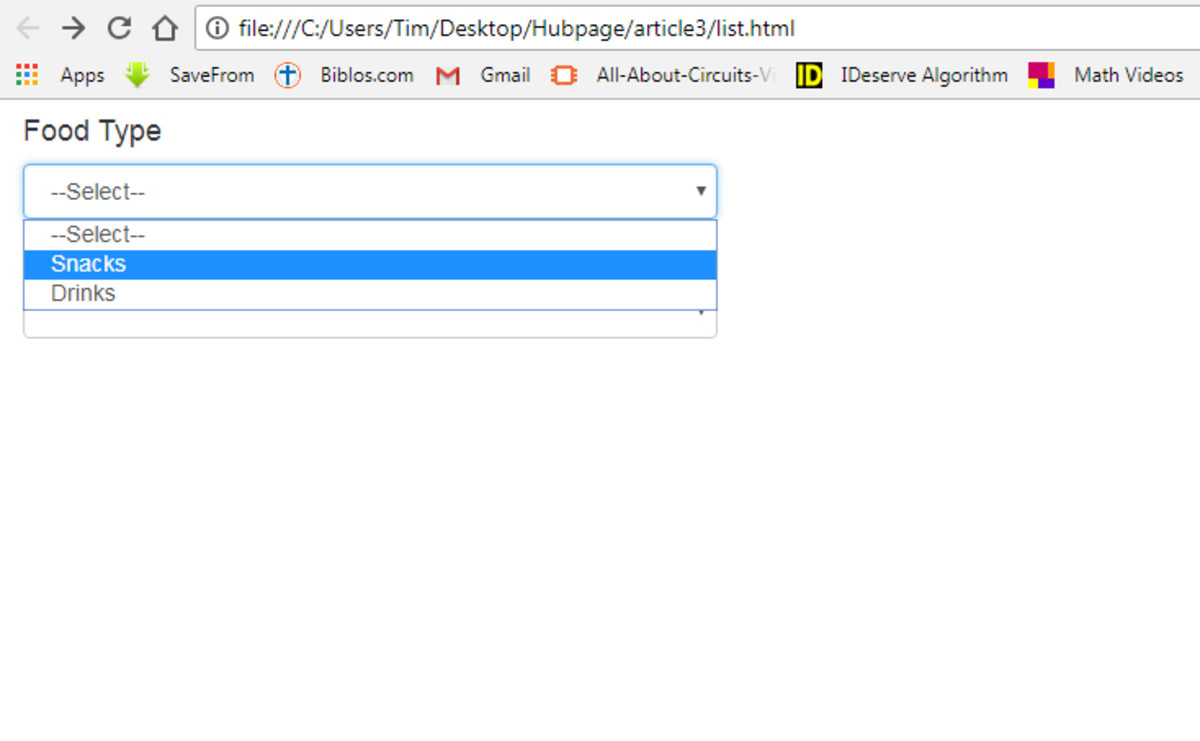 How to Populate Values in One HTML Dropdown List With Another Using