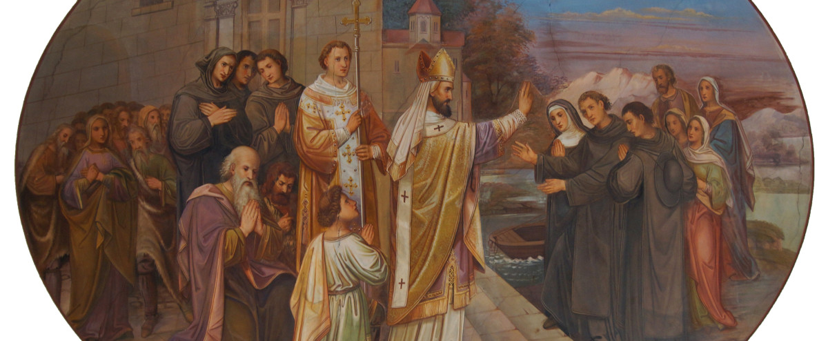 St. Boniface blesses the three siblings.