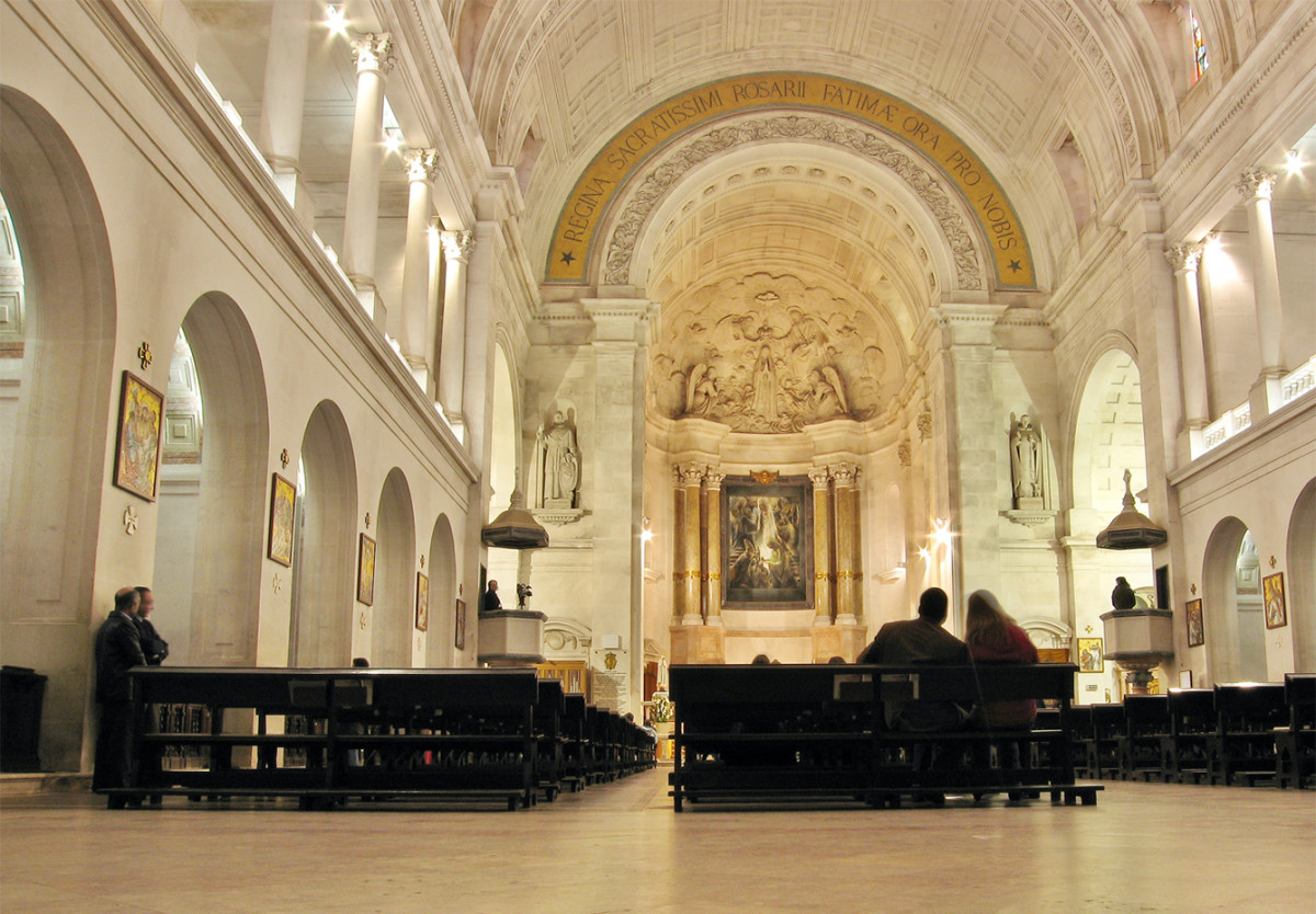 This is the interior of the Basilica of Our Lady of Fátima.