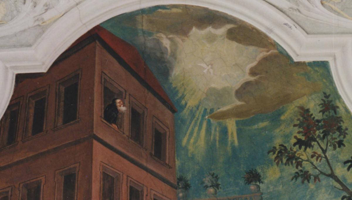 From his cell, St. Benedict observes his sister's soul fly to heaven.