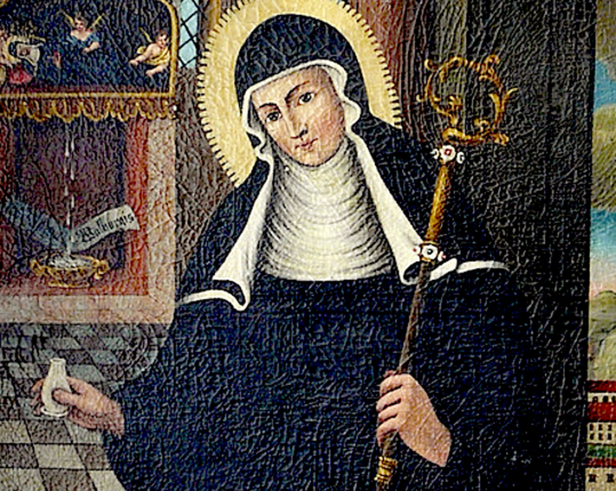 This image shows St. Walburga with the crosier of an abbess and a small vial, as she studied medicine.