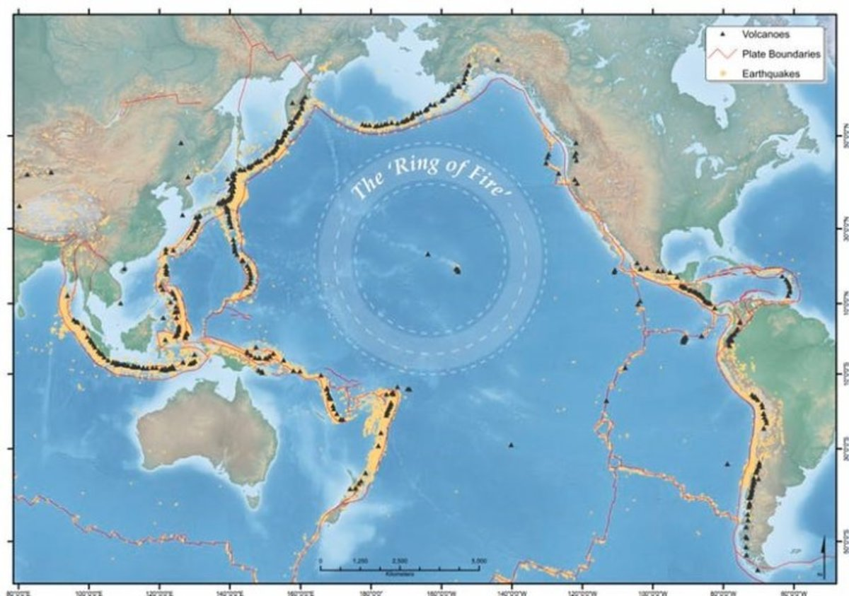"""A general map of the Pacific """"Ring of Fire."""""""