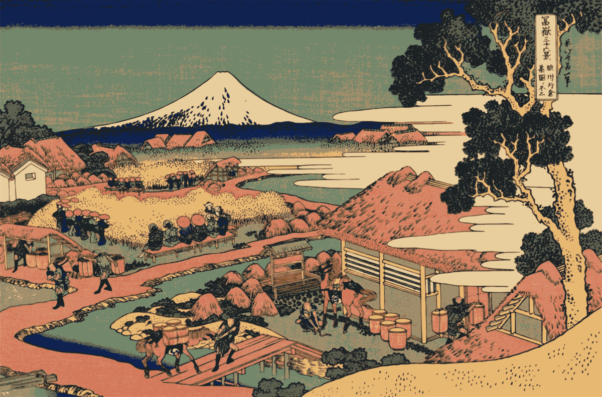Wood-block print of Mount Fuji by Hokusai.