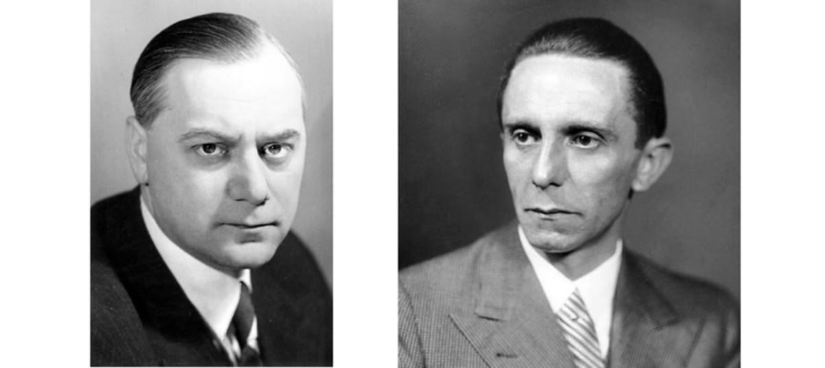 Alfred Rosenberg, Nazi theorist, and Joseph Goebbels, chief of Nazi propaganda.