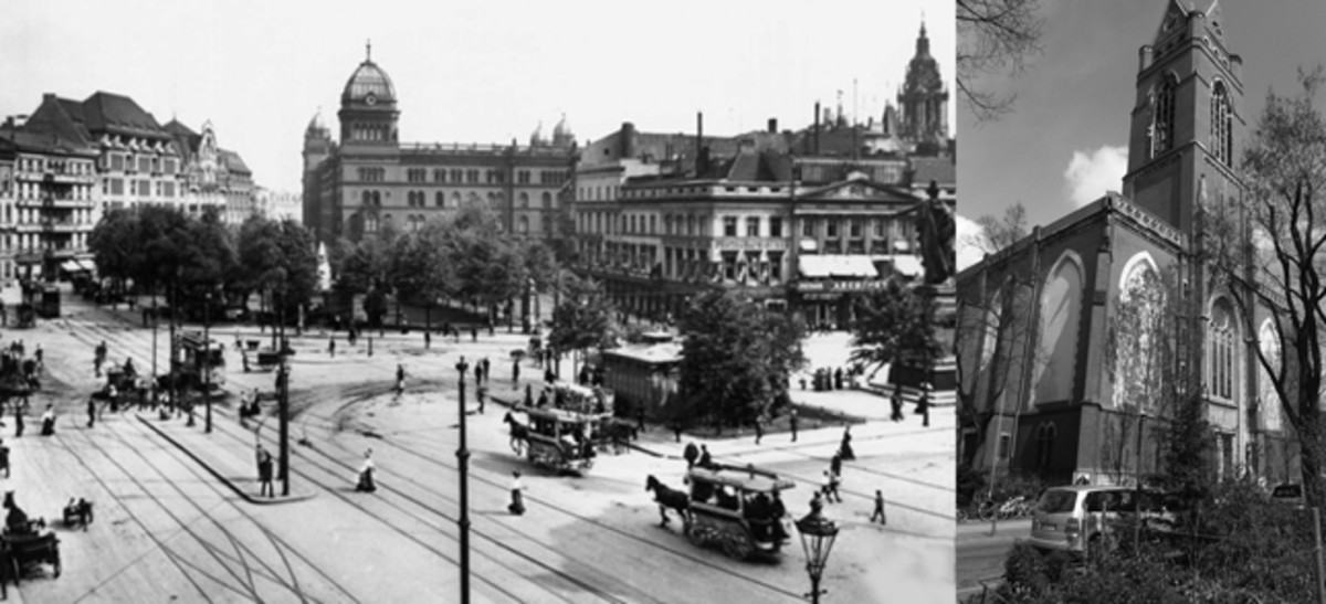 The Alexanderplatz on the left in 1908 is near to where Von Galen first lived in Berlin. On the right is St. Mathias' Church, where he was pastor from 1919-1929.