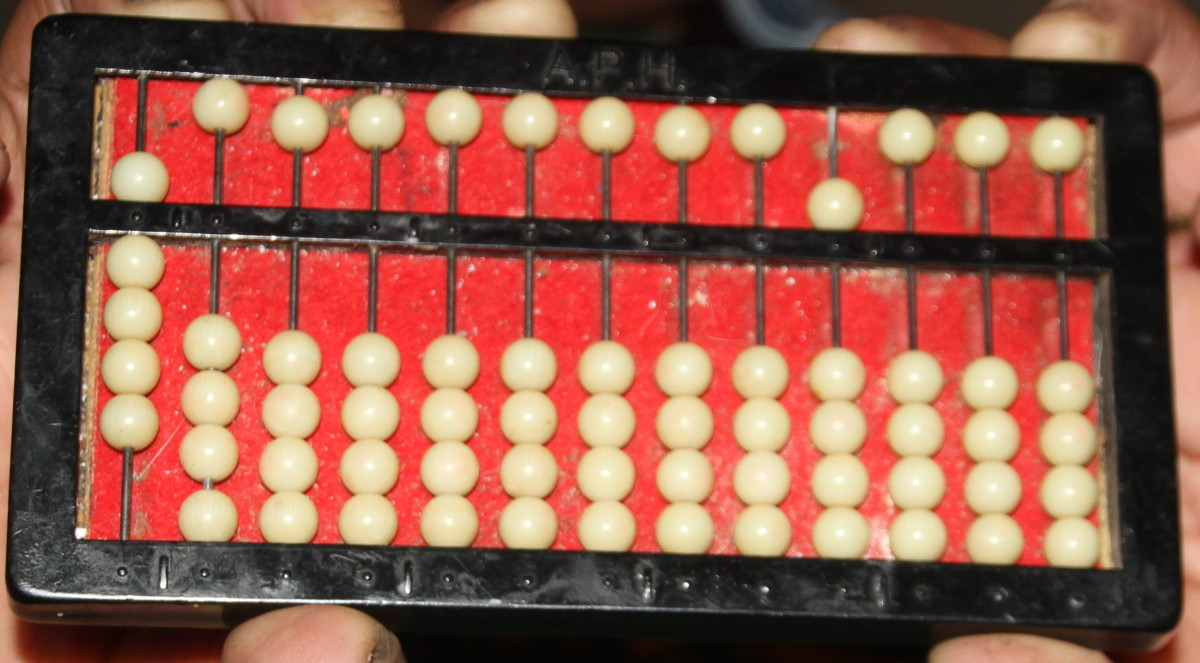 "The abacus showing ""9 X 50""."