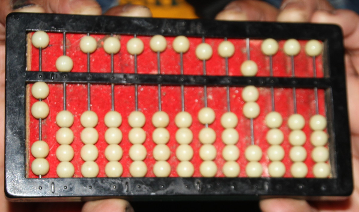 "The abacus showing ""25 X 7""."