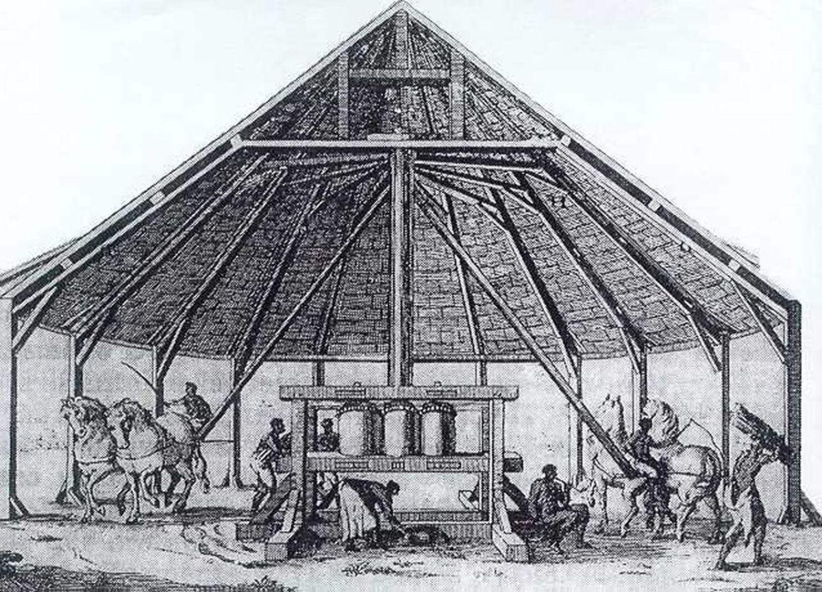 A sugar mill in Hispaniola