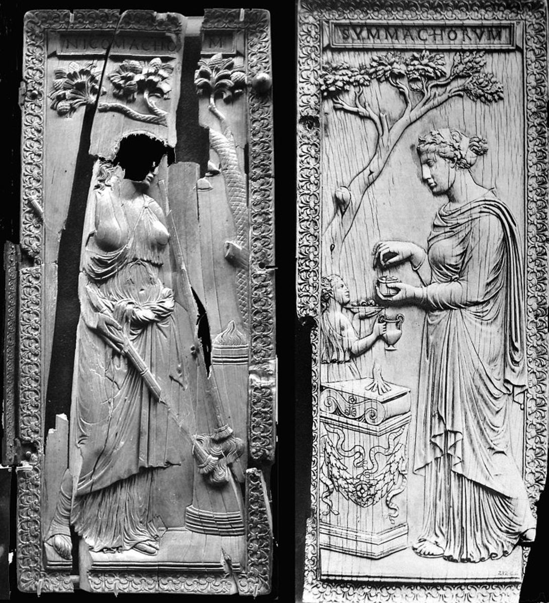 Figure 5: Woman sacrificing at an altar, right leaf of the diptych of the Nicomachi and the Symmachi