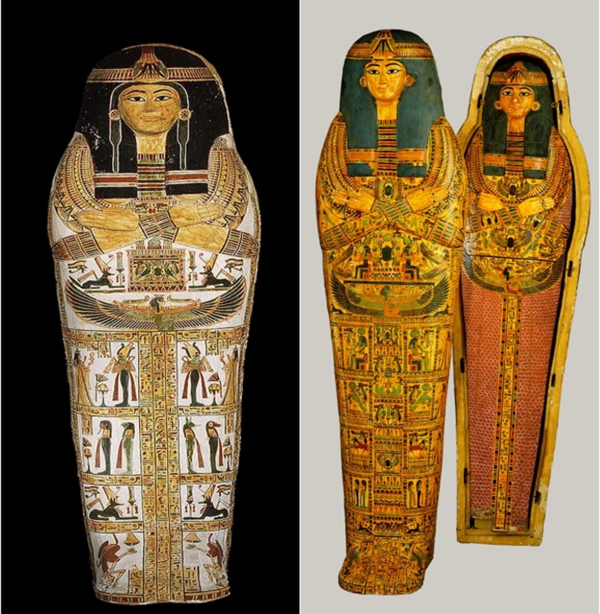 Henettawy was a Third Intermediate Period Priestess. Her burial coffins display her socioeconomic status and transition in death. The outer coffin is the embodiment of male characteristics while the inner coffin is the feminine characteristics.