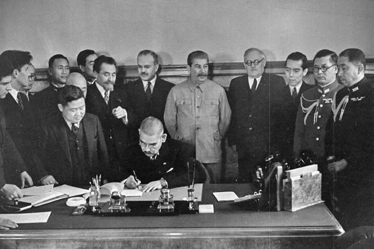 The signing of the Molotov-Ribbentrop Pact.