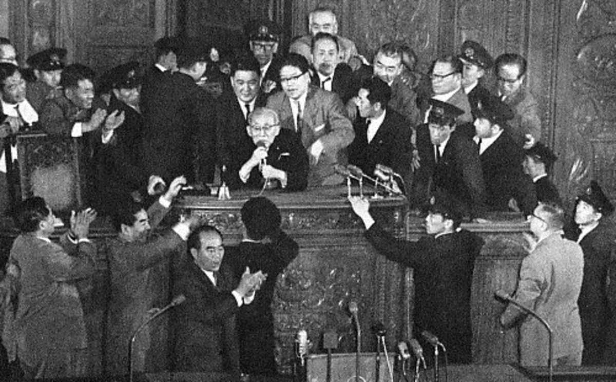 Protests over the US-Japan mutual security treaty in 1960.