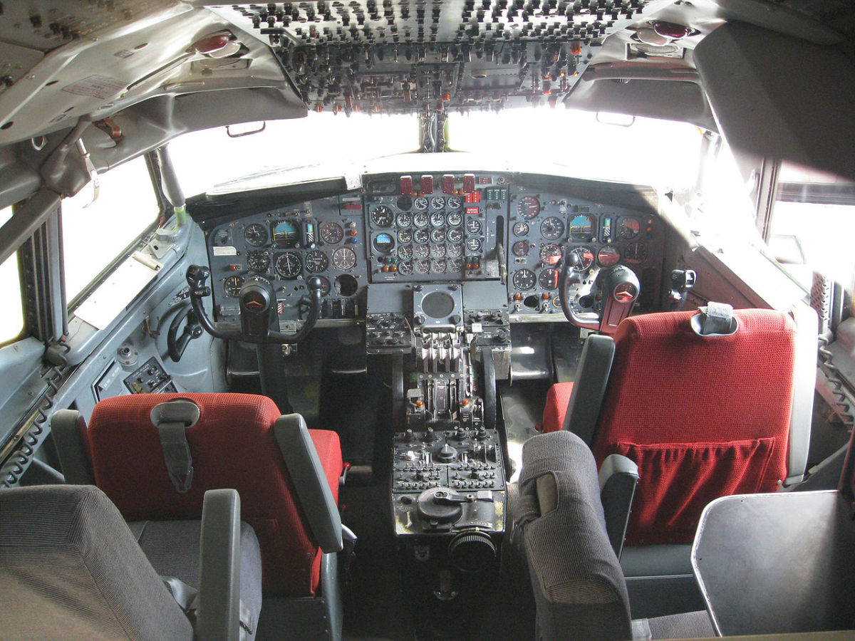 Inside of a Boeing 707-120 cockpit.