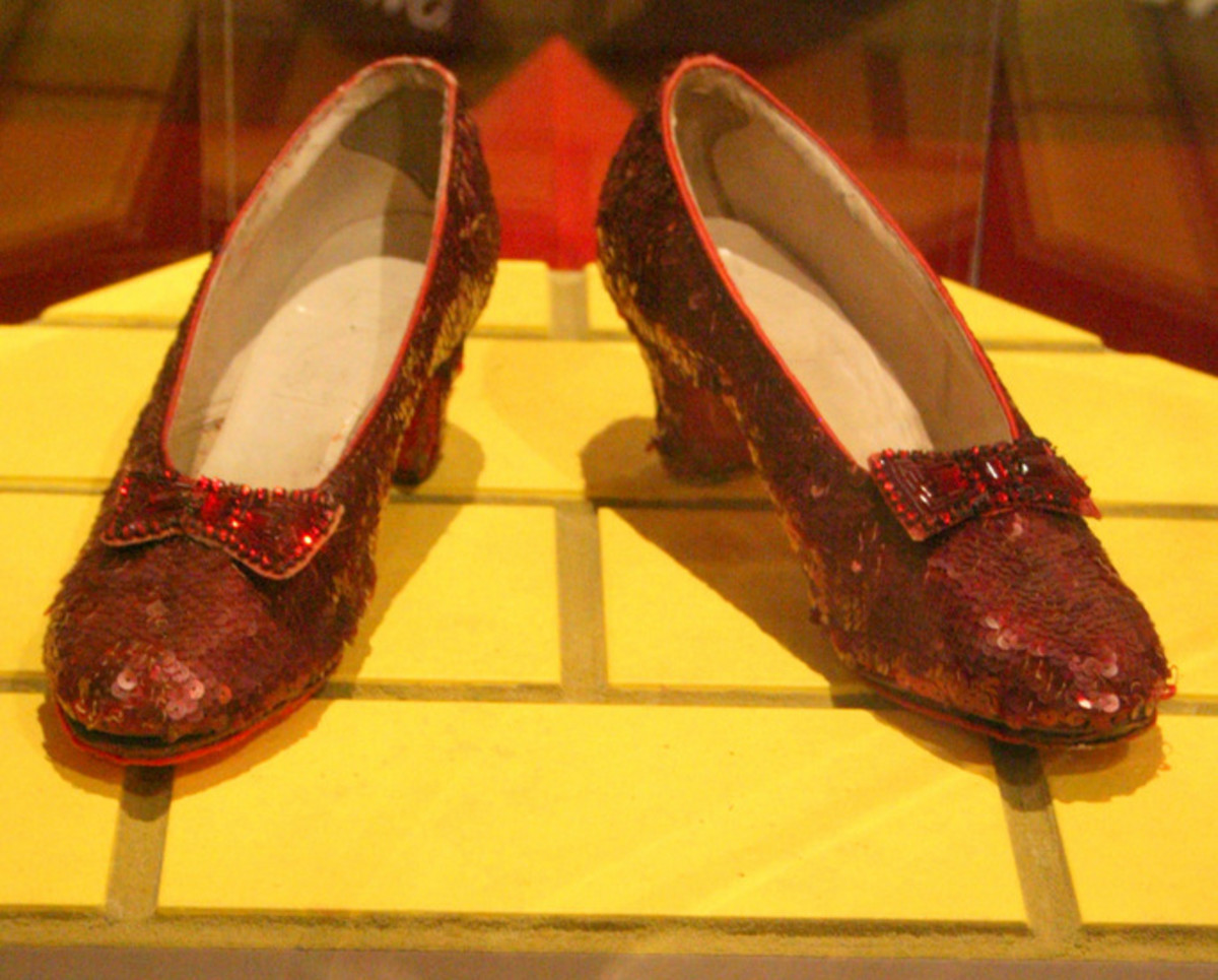 Magic pair of shoes worn by Dorothy Gale as played by Judy Garland in the 1939 movie The Wizard of Oz