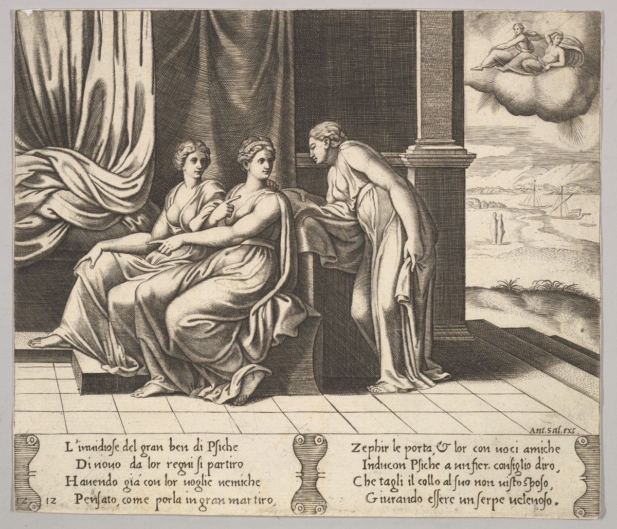 Psyche's sisters persuade her a serpent is sleeping with her