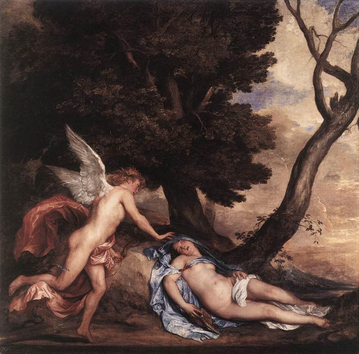 Eros finds Psyche, asleep.