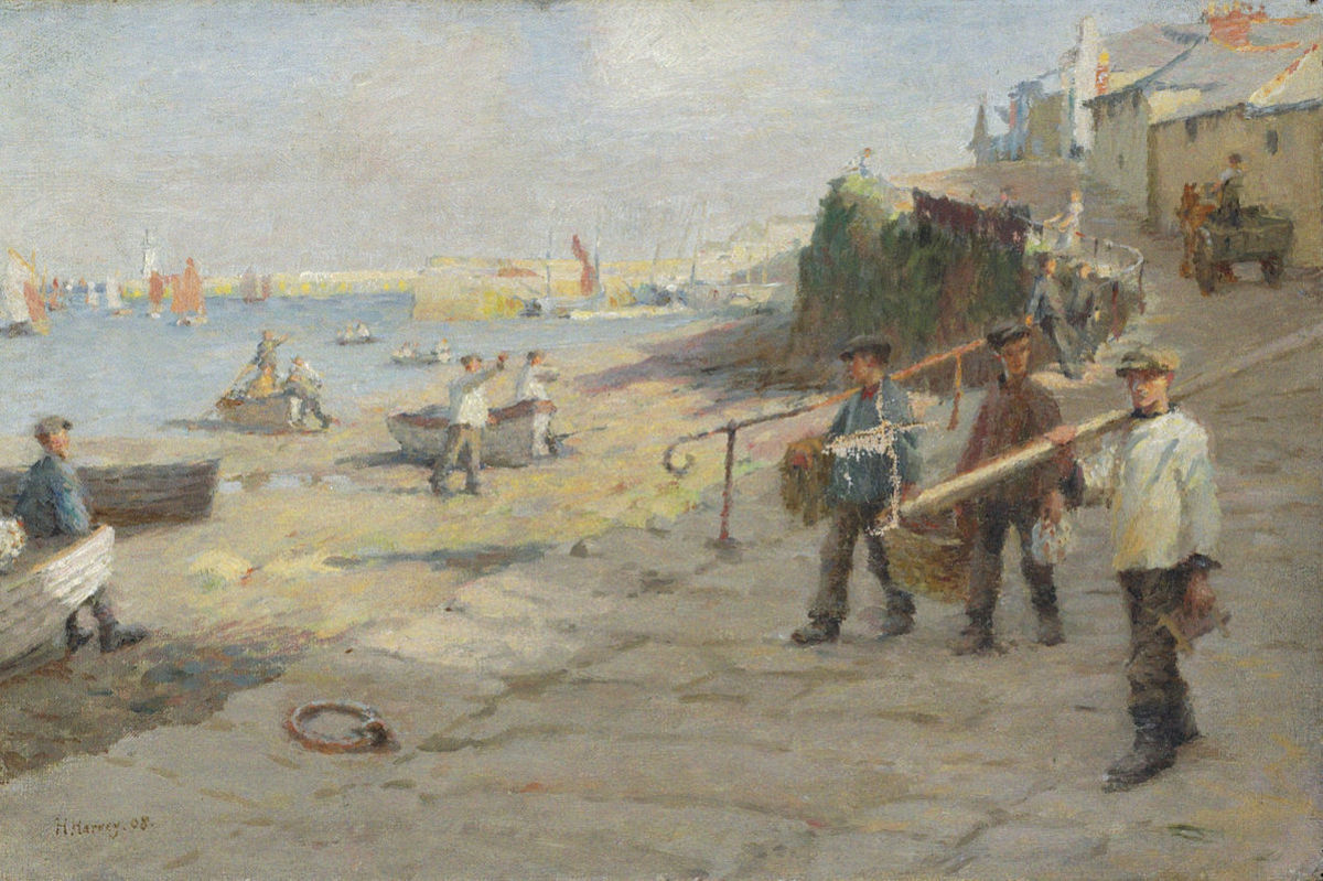 Newlyn Harbour in 1908 by Harold Harvey.
