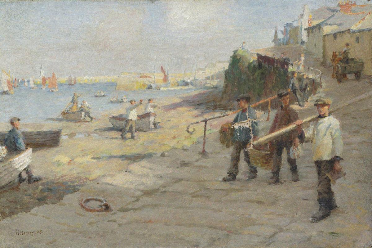 Newlyn Harbour in 1908 by Harold Harvey.
