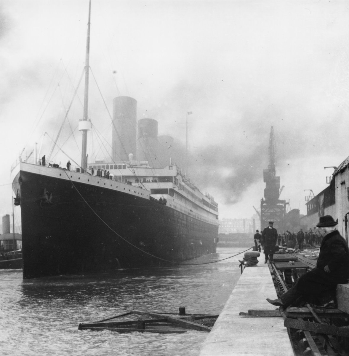 The Titanic at her dock, 1912