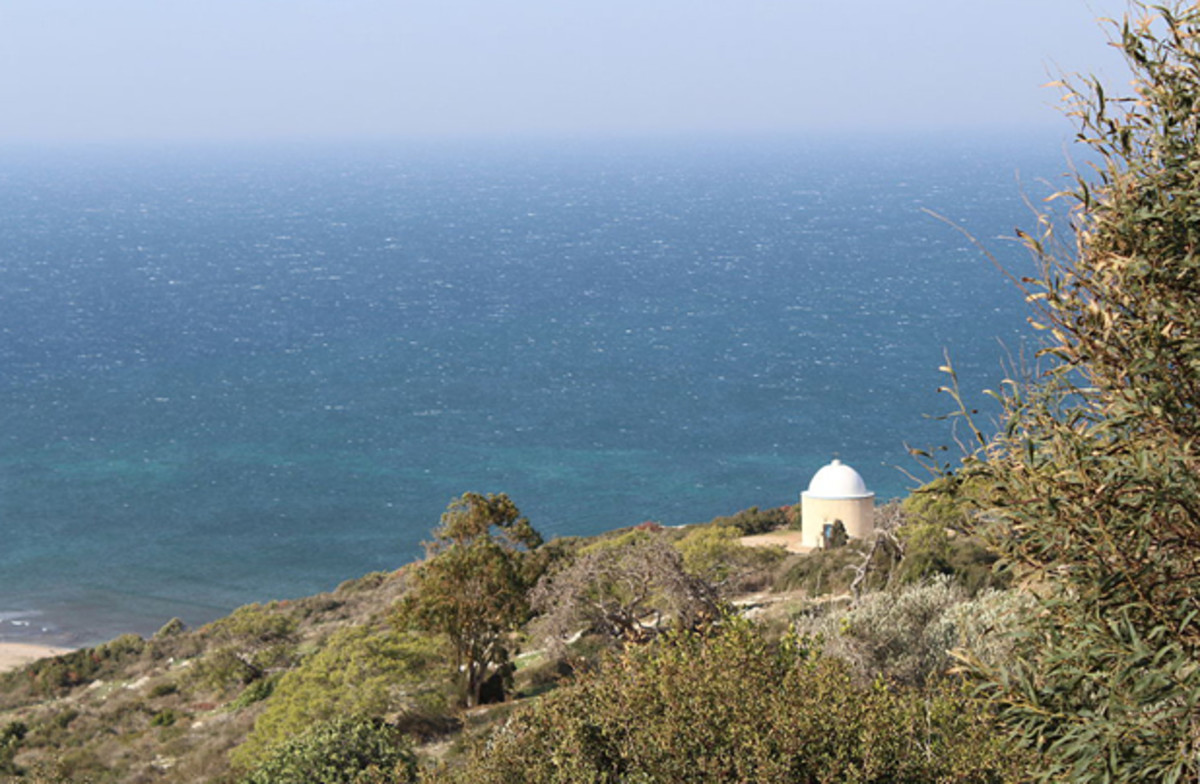 This is a view of the Mediterranean Sea as seen from Stella Maris Monastery, located on Mt. Carmel, Israel. Below is a small chapel dedicated to the Sacred Heart.