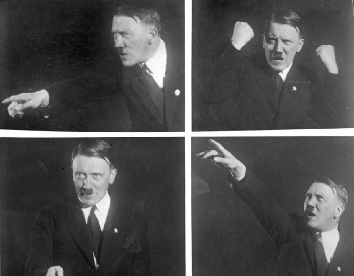 Hitler in 1930, giving one of his famous speeches.