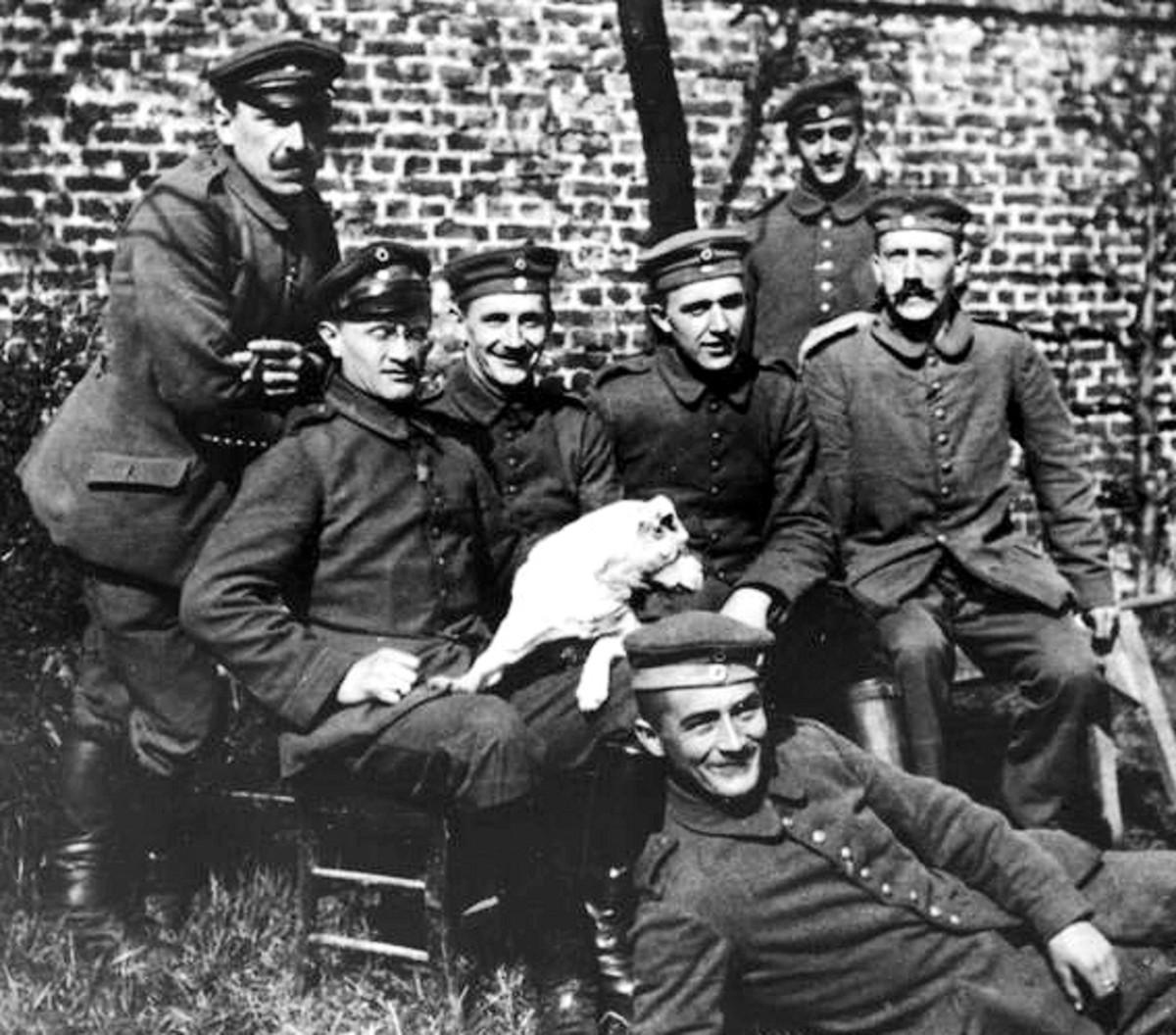 Hitler (Far Right) during the First World War.