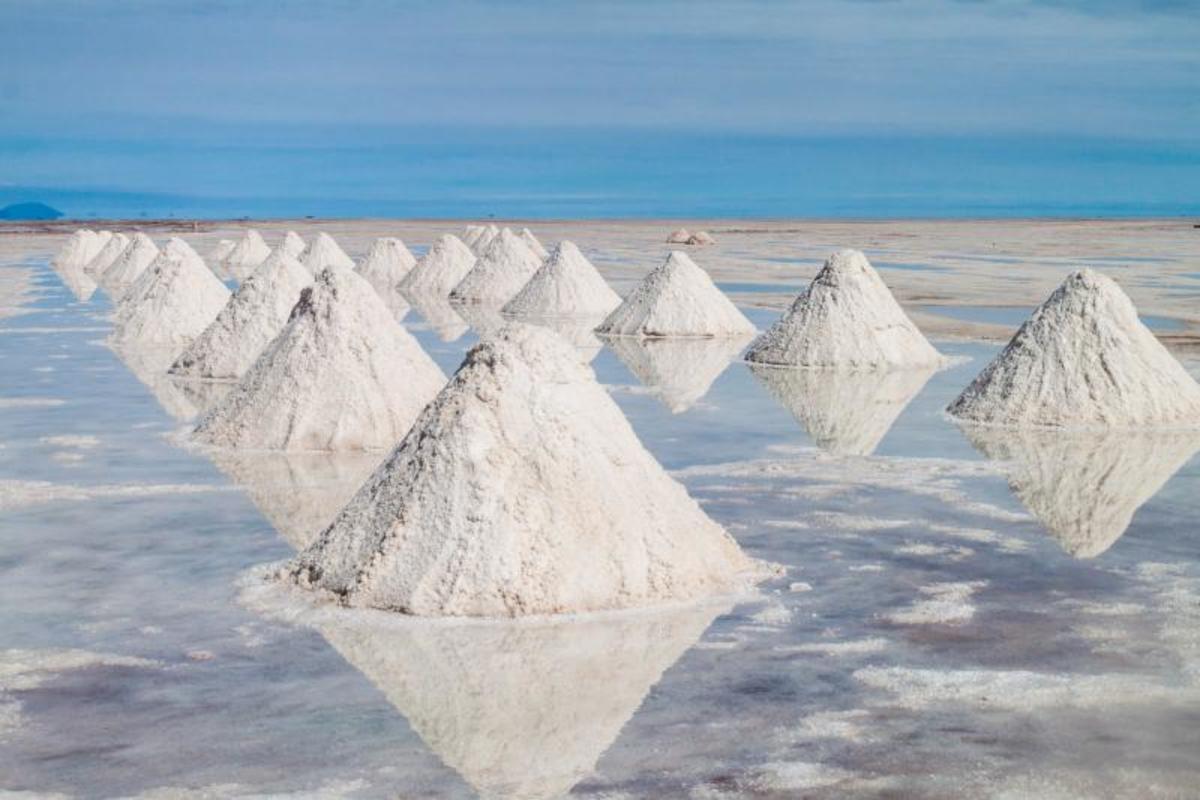 Salt water left to evaporate