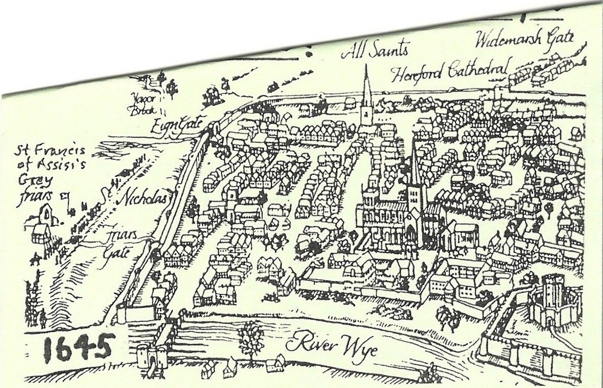 Hereford map (1645), including Hereford Cathedral in the upper right.