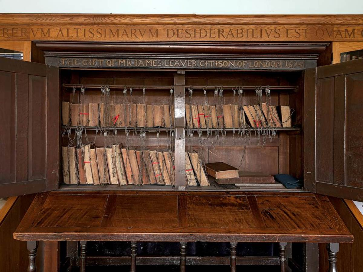 One of the small remaining chained libraries. Bolton School, Bolton, England.