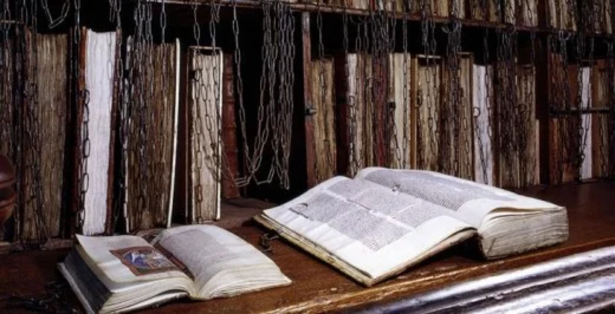 Books were painstakingly unchained, only to be re-chained to the reading surface.