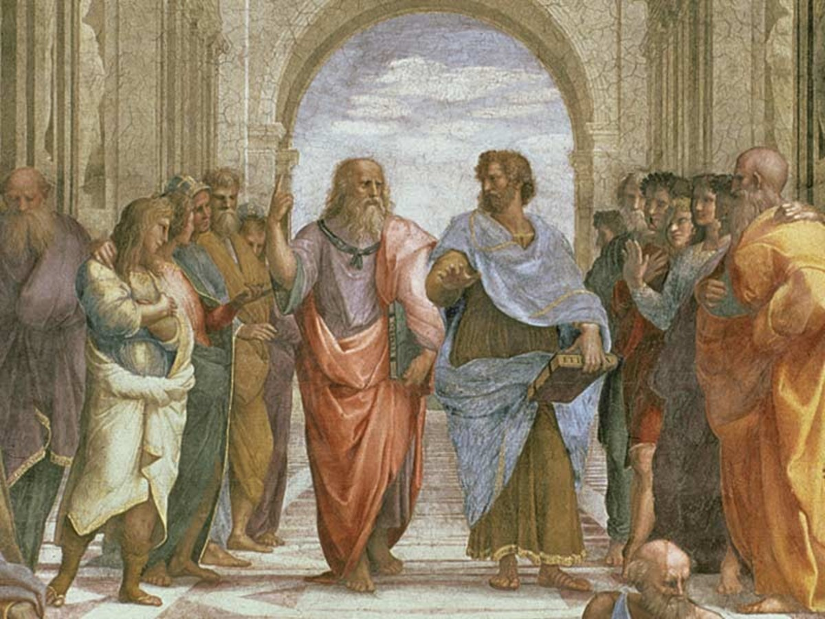 "Aristotle (right) and Plato (left), in Raphael's painting ""The School of Athens""."